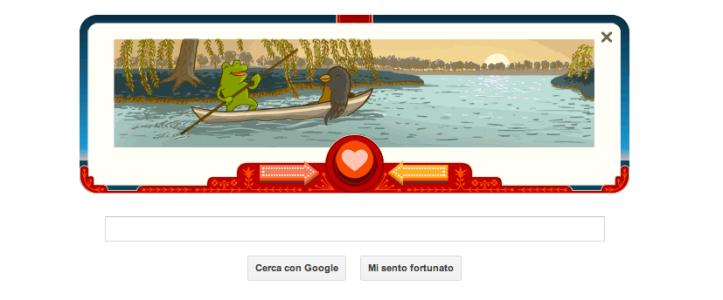 Ranocchio e Uccello Doodle San Valentino 2013